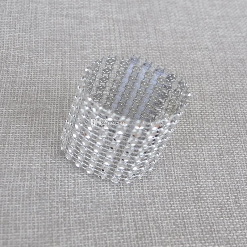 Wedding Napkin Holders Plastic Diamond Napkin Rings for Wedding Decoration Party Supplies Table Decoration Accessories