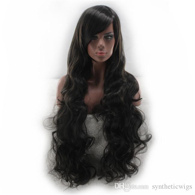 WoodFestival oblique bangs long black wig curly synthetic hair wig for women heat resistant fiber wig can be dyed hair 80cm