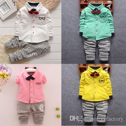 a4780a99f7783 2019 2017 Toddler Baby Boys Kids Cotton Shirt Tops+Long Pants 4 Colours  Outfits Little Gentleman Clothes Set 0 4T From Tyfactory, $6.7   DHgate.Com