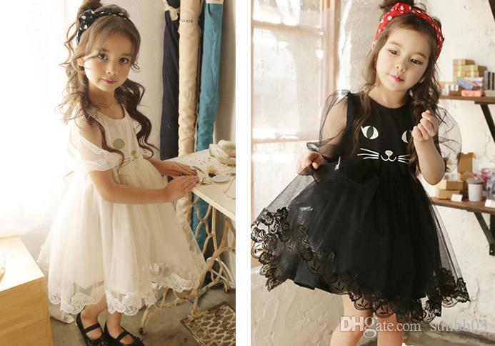 New Kids Girls Dress Baby Cartoon Cat Princess Dress Short Sleeve Lace Tulle Ball Gown Tutu Party Dresses Children Clothes White Black 13292