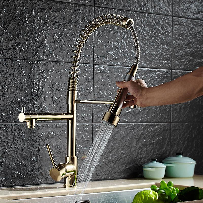 new kitchen faucet water filter build in 2018 wholesale luxury gold color new kitchen faucet tap two swivel spouts extensible spring mixer pull out down sink from homegarden
