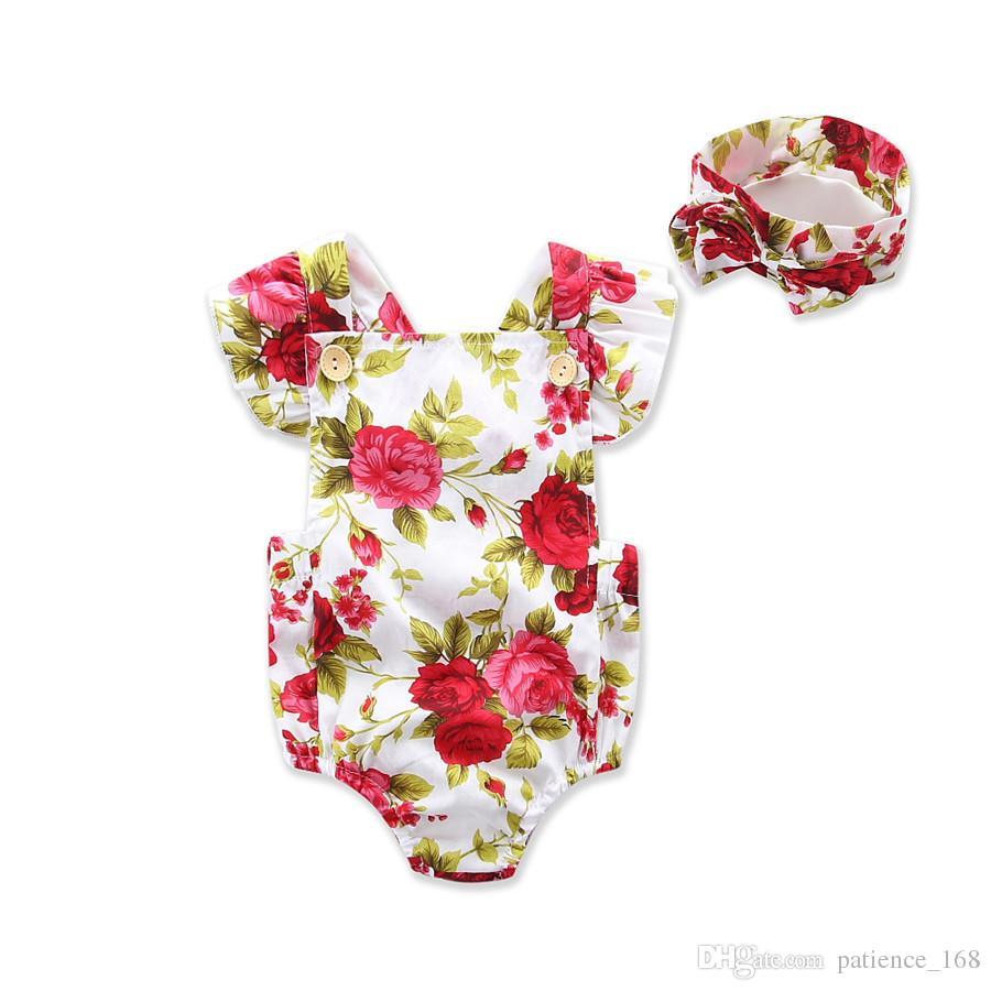2017 INS new styles New Arrivals Hot sell infant kids Summer Chiffon Cotton Beautiful flower print romper +headdress clothing