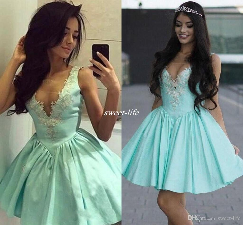 Weddings & Events Sexy Mint Green Short Cocktail Dresses Plus Size Lace Semi Formal Graduation Prom Party Homecoming Dresses