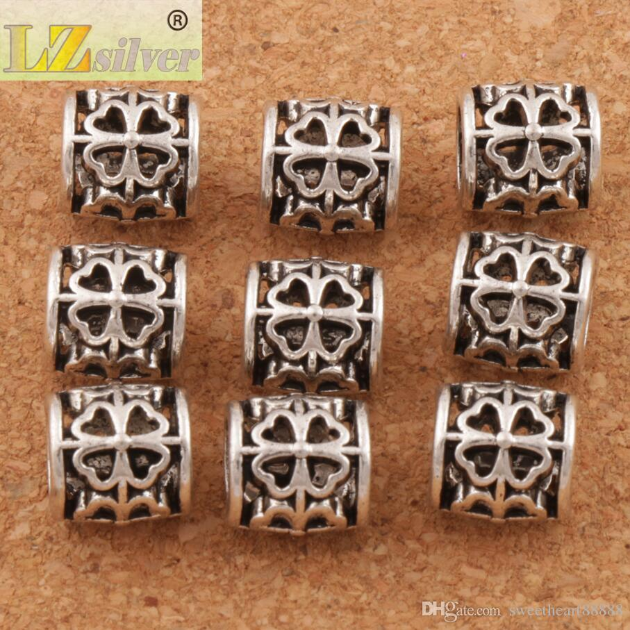 Tube Clover Rundmetall Big Hole Pärlor / 9x9x9 mm Antik Silver Passform Europeiska Armband Smycken DIY L1392