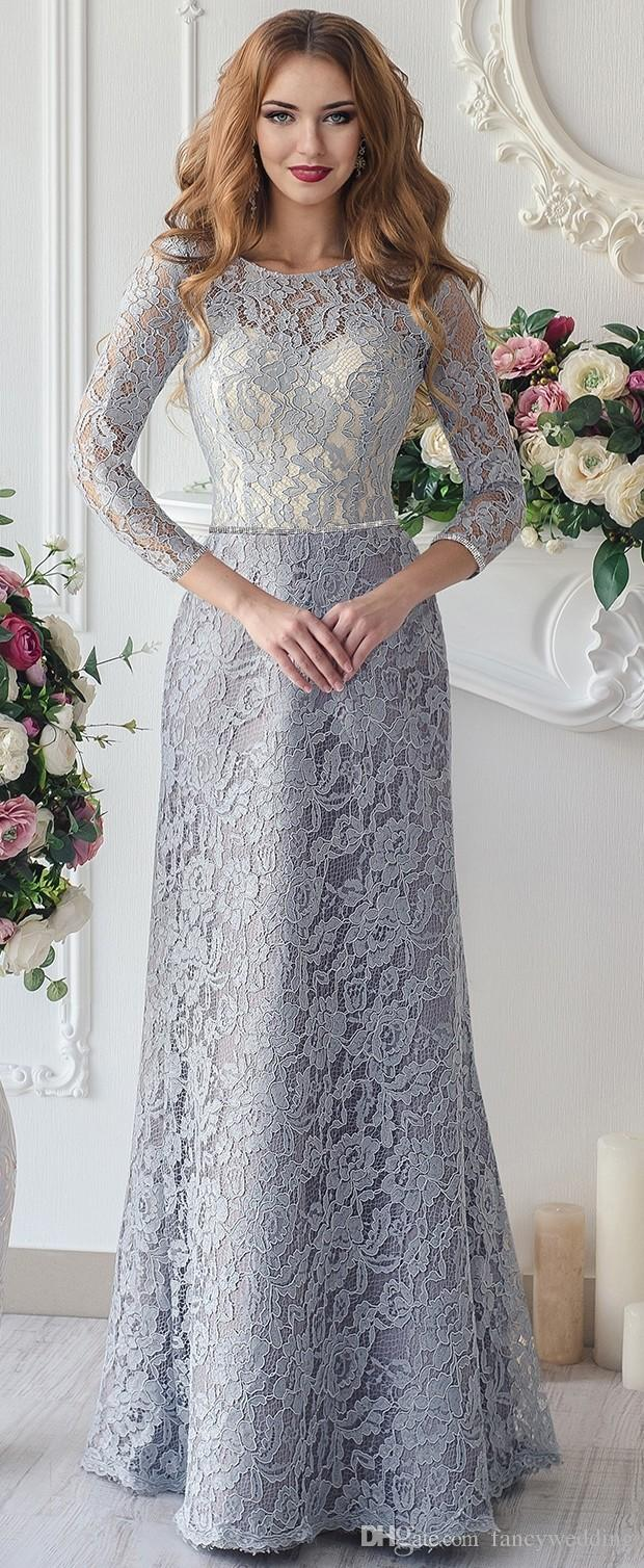 Lace Mermaid 2016 Arabic Mother Of Bride Dresses Scoop Long Sleeves Sexy Mother Of Groom Dresses Vintage Evening Gowns