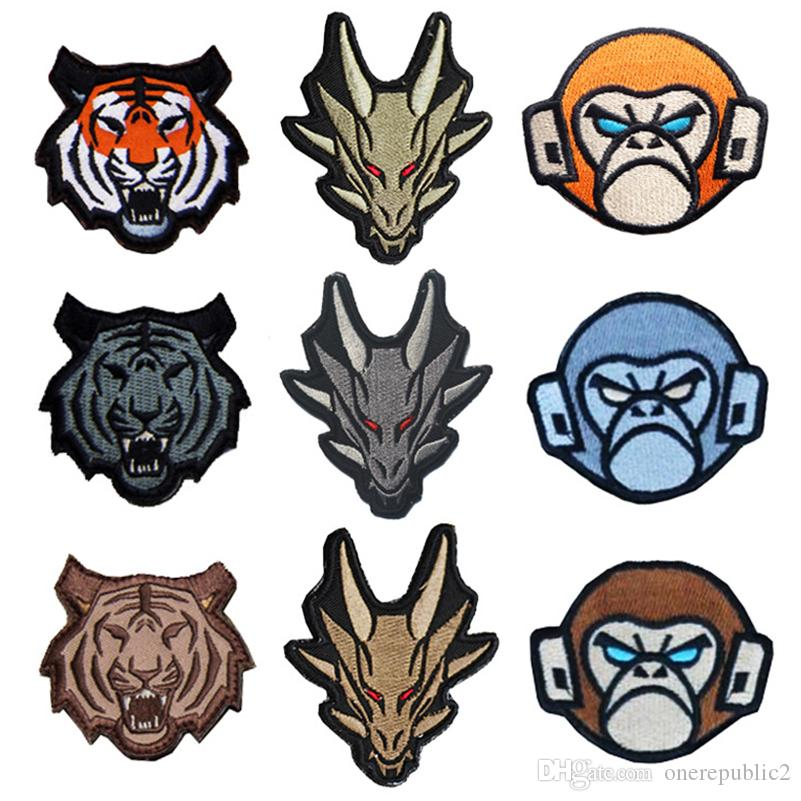 Tactical Monkeys Tiger Dragon Embroidered Morale Patch Hook&Loop Embroidery Badge Decorative Patches Wholesale free ship