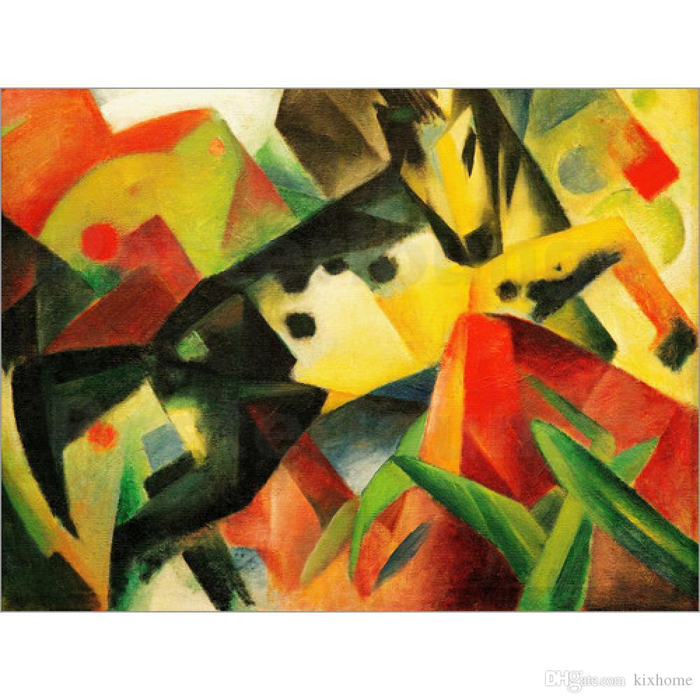 Gift Horses Oil Paintings by Franz Marc Jumping Horse Hand Painted ...