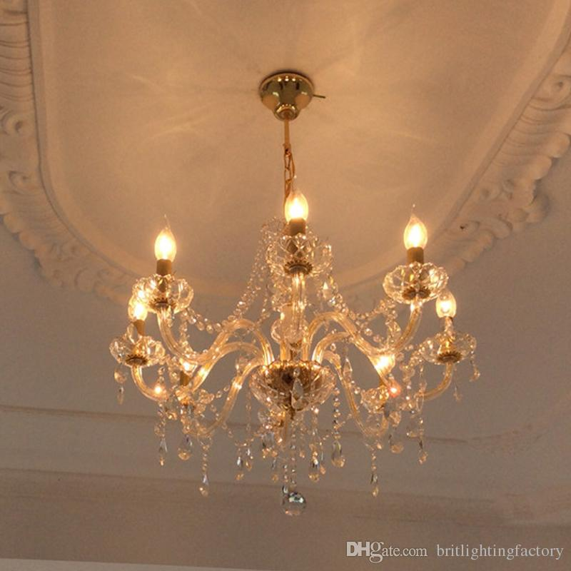 Gold Crystal Chandelier 8 Lights Contemporary Ceiling