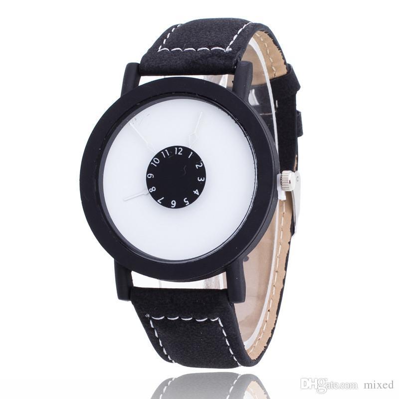 Простой стиль черный и белый кожаный кварцевые часы Марка женщины часы случайные любители смотреть Relogio Feminino 2016 часы женщины мужчины