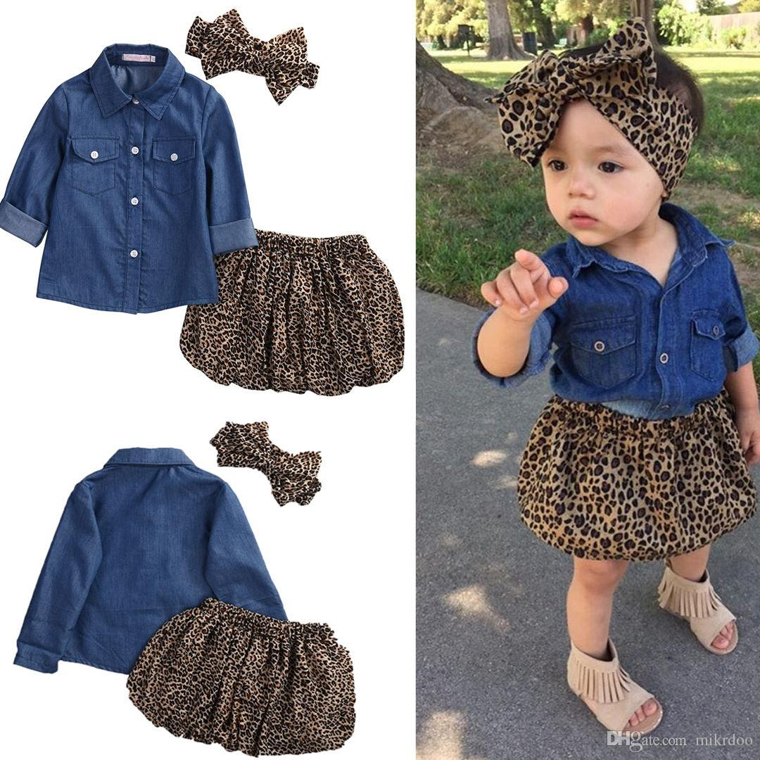 f11d31630153 2019 Mikrdoo Baby Girl Clothes Set Cute Dress 2017 Summer Kids Denim  Tops+Leopard Culotte Outfits Kids Fashion Girl S Shorts Clothing Set From  Mikrdoo