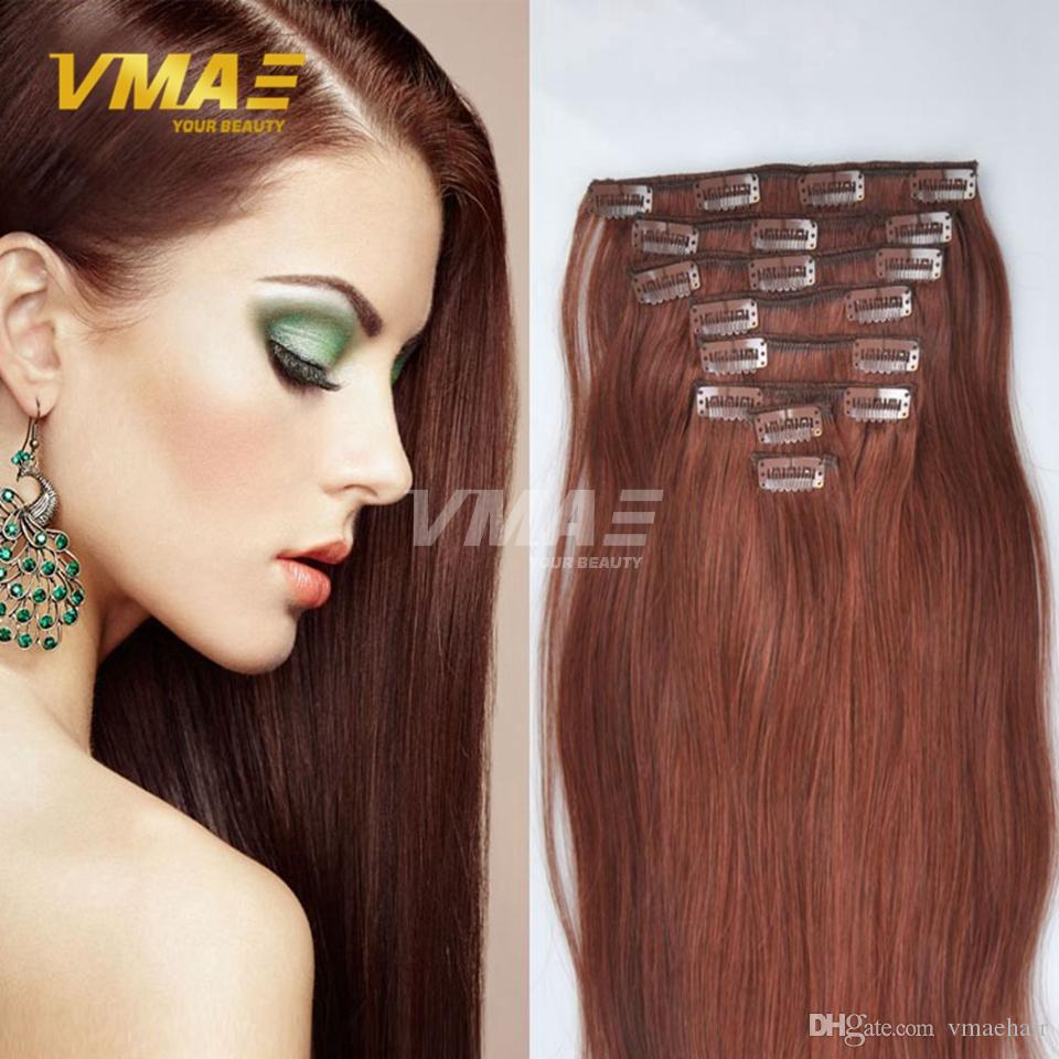 Clip In Women Long Straight Hair Extensions Brazilian Human Straight