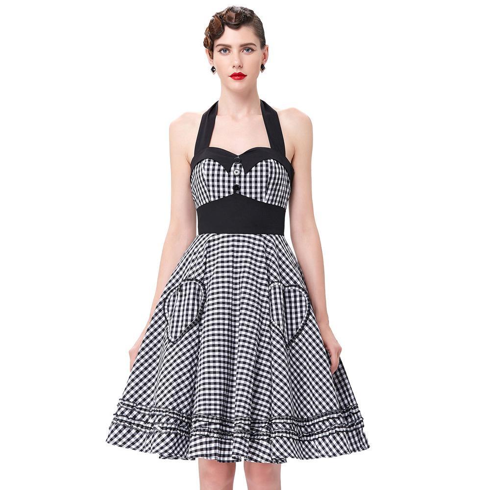 2019 Wholesale Summer Style Women Dress 2016 Plus Size Audrey Hepburn Gowns  Plaid Robe 50 S 60s Vintage Rockabilly Pin Up Swing Vestidos Dress From  Caesarl fb205497f044