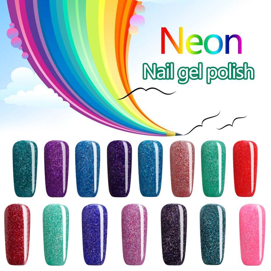 Wholesale 2017 Beautiful Neon Rainbow Nails 7ml Uv Nail Gel Polish ...