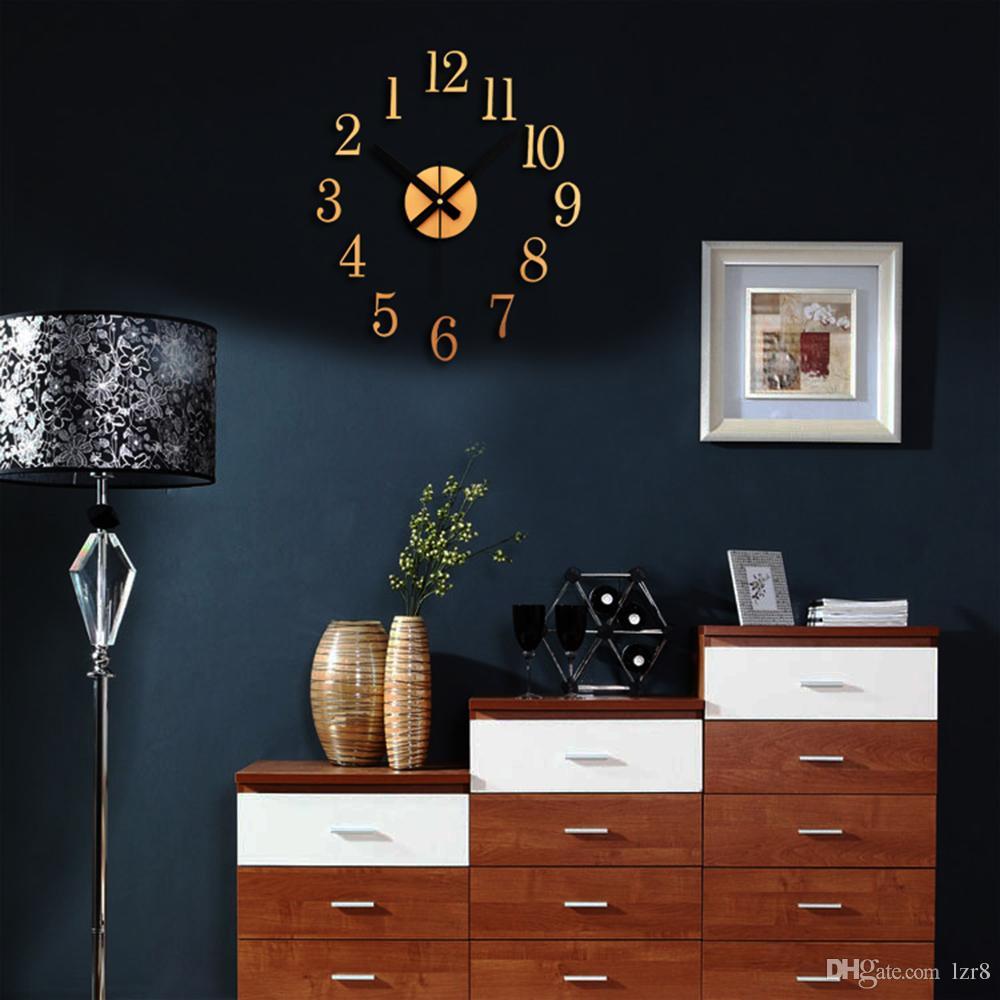 wall clock living room. 3d Diy Home Decor Arabic Numerals Antique Mirror Fashion Modern Quartz Clock  Living Room Wall Watch Stylish Clocks