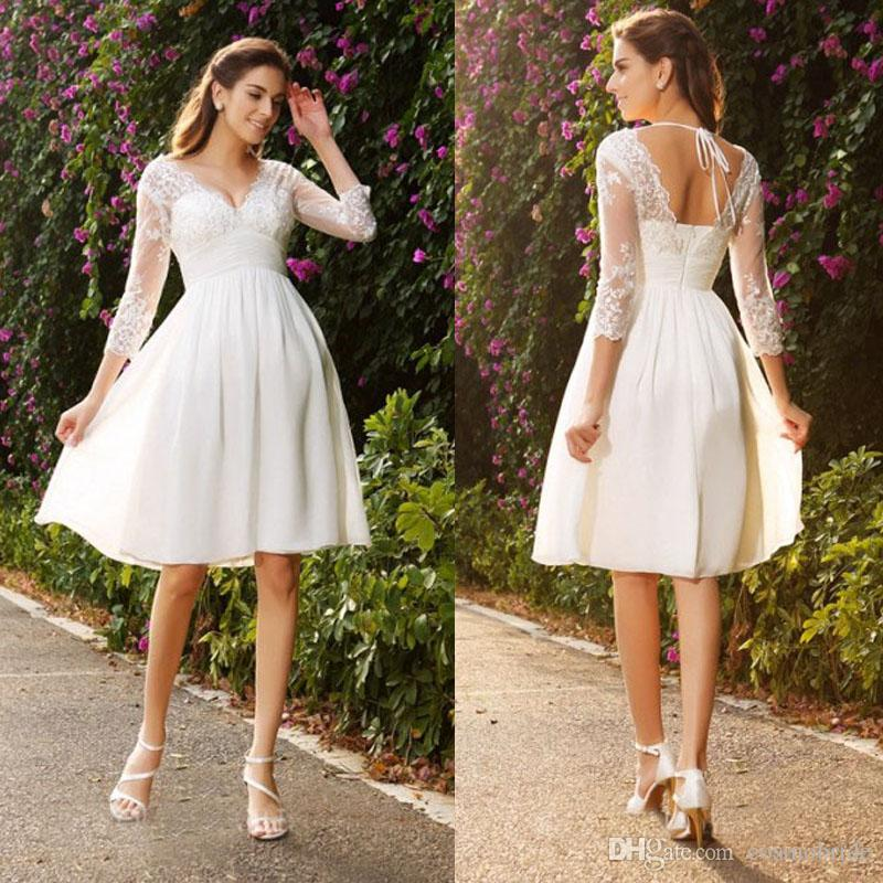 Country Knee Length Wedding Dresses Lace V Neck Backless Long Sleeve ...