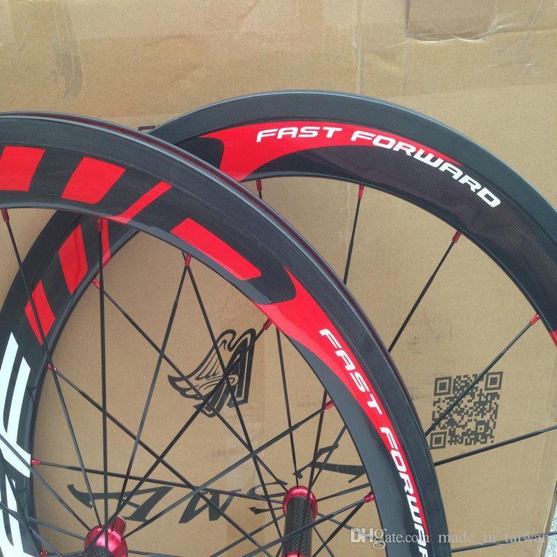 Hot sale 1k weave FFWD carbon bike wheels fast forward white red china bicycle carbon wheels with ceramic bearing hub wheels