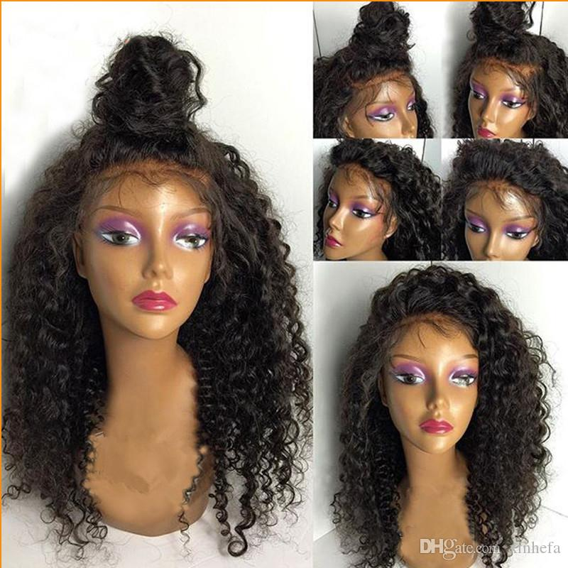 Cheap 150% Density Long Kinky Curly Full Lace Wig Virgin Brazilian Lace Front Wig Kinky Curly Human Hair Wigs For Black Women
