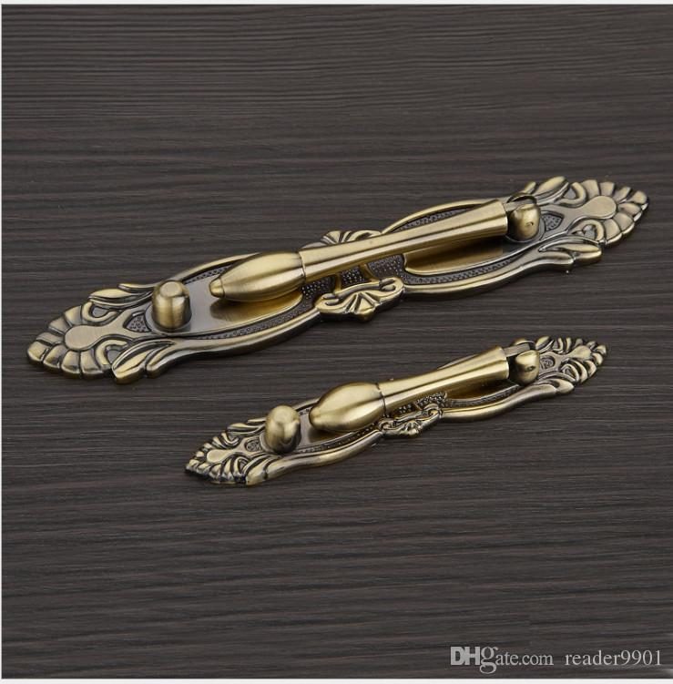 Golden Red bronze classic ancient craving Antique Copper Zinc alloy drawer handle kitchen cabinet furniture pull with pitch row 64 96mm#90