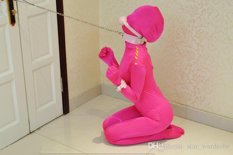 2015 Funny Pink Spandex Lycra Zentai Suit Sexy Women Catsuit All-inclusive Tights Bodysuit Costumes