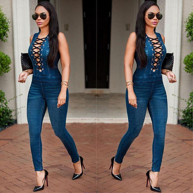 d7482b3df87 2019 Wholesale Fashion Rompers Womens Jumpsuit 2016 New High Quality Autumn  Blue Sleeveless V Neck Skinny Cowboys Bodycon Jumpsuit From Hoto