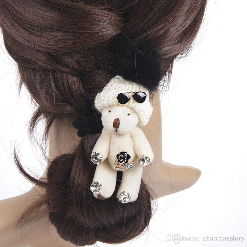 Cute Little Bear Elastic Hair Rubber Band Ponytail Holder Women Hair Accessories