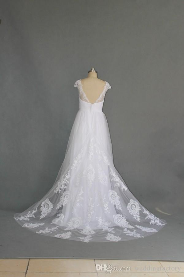 Deslumbrante de alta qualidade praia vestido de noiva estilo country sexy voltar voltar vestidos de noiva de tule com renda apliques doce arco bow sash