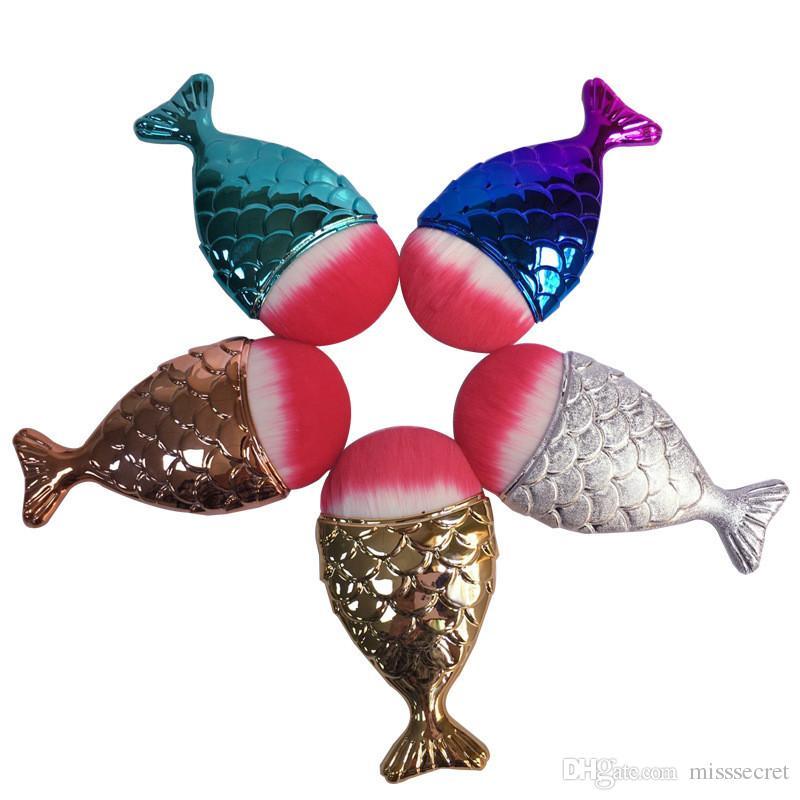 25 Couleurs Sirène ovale brosses Sirène Fondation Fish Tail Brosse Sirène Maquillage Brosses Set Beauté Cosmétiques Blush Pinceaux de Poudre Livraison DHL