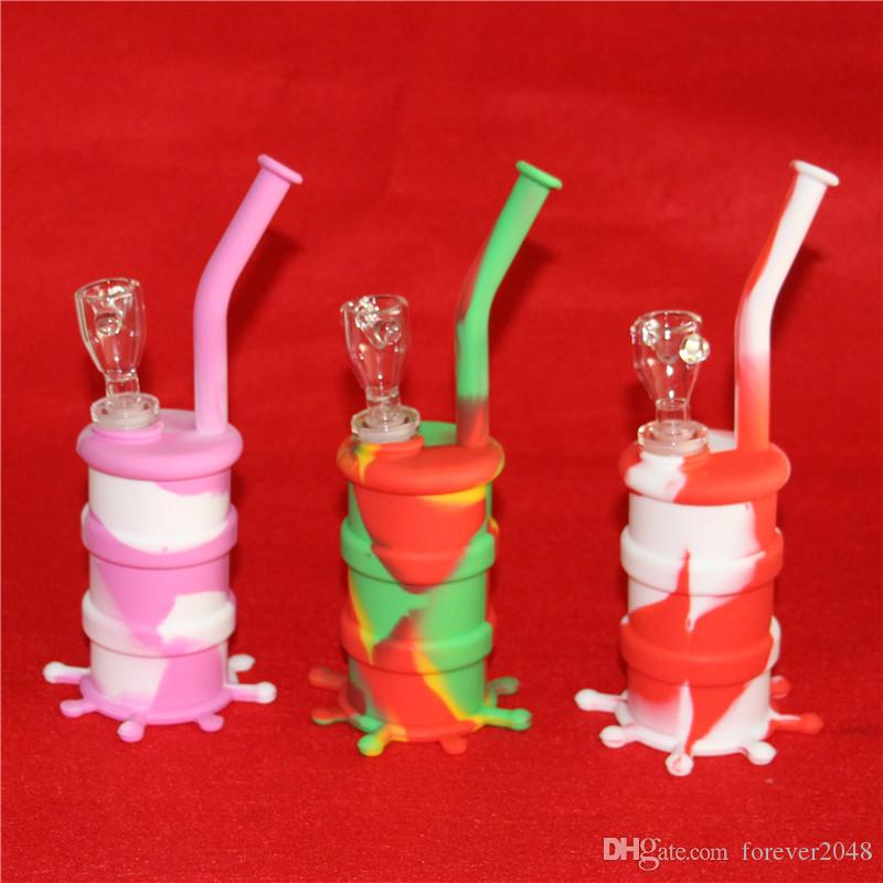 Hot Sale Silicon Rigs Water pipe Silicone Hookah Bongs Silicon Dab Rigs Cool Shape 5ml silicone container good quality and DHL