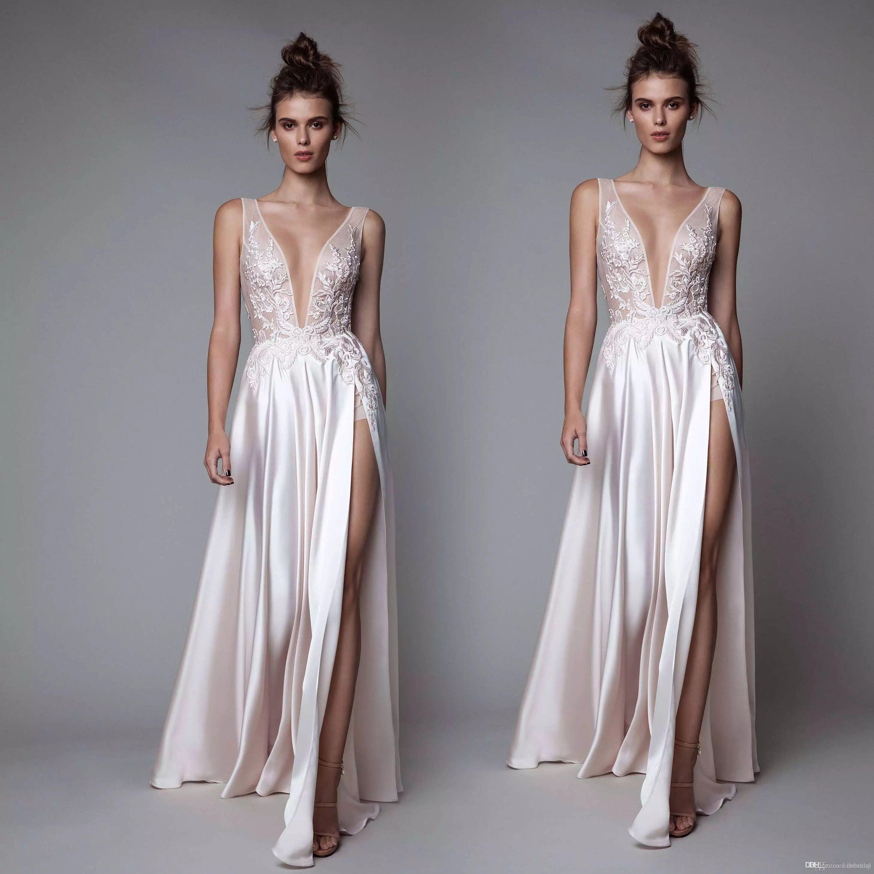 218d5f154f Sexy Berta Prom Dresses Plunging Neck Front Split Evening Gowns Floor Length  Embroidery Appliques A Line Party Dress Custom Made Middle School Prom  Dresses ...
