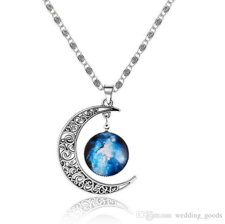 Lunar galaxy moon necklace explosion section WFN209 with chain a