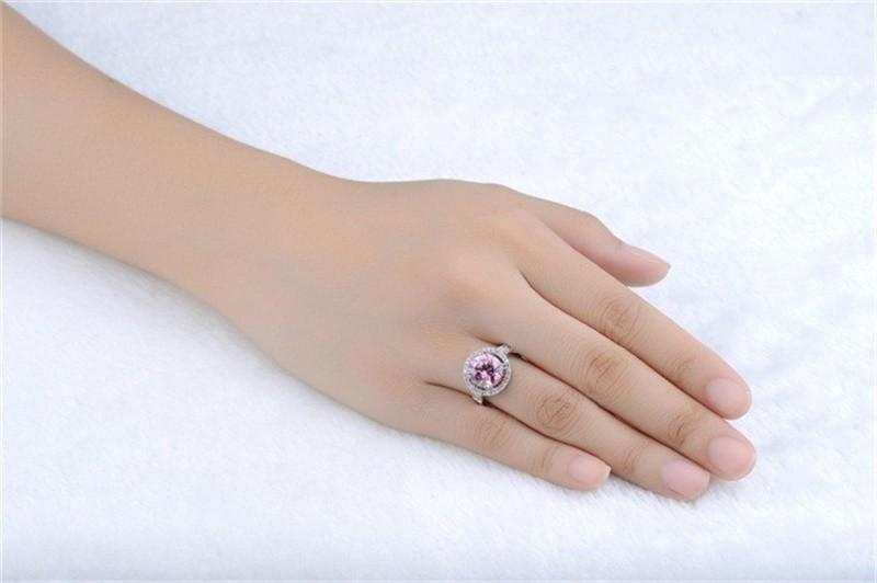YHAMNI Have S925 Stamp Real 925 Sterling Silver Ring Fashion Jewelry 3 ct Pink Diamond Wedding Rings For Women MR115
