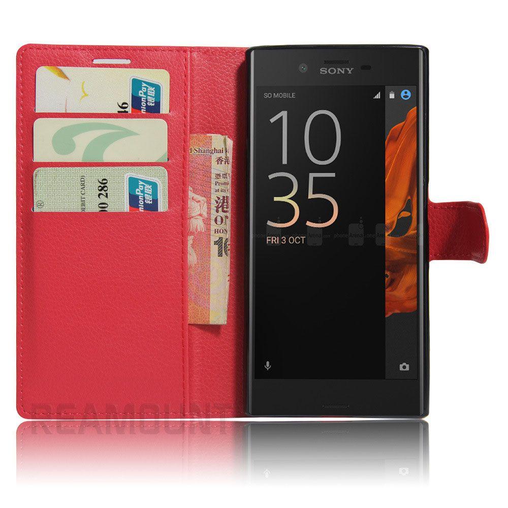 Caso de la cartera de cuero de moda de lujo para SONY Z1 Z2 Z3 Z4 Z5 para SONY E1 E2 E3 E4 E5 con ranura para tarjeta cubierta caso