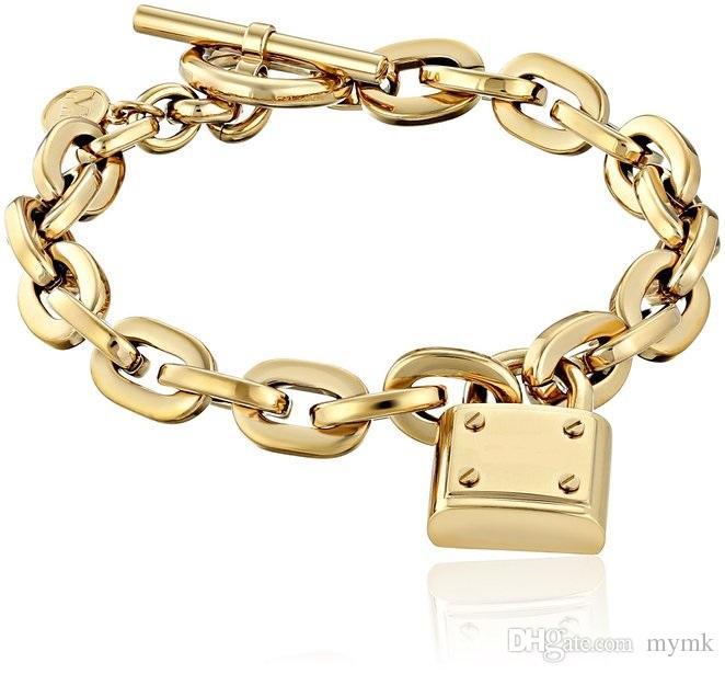 2d13e978205c Compre Nueva York Marca De Moda Tone Toggle Link Pulsera Padlock Lock  Colgante Encanto Pulseras Joyería De La Marca Joyería Para Hombres Mujeres  A  2.95 Del ...