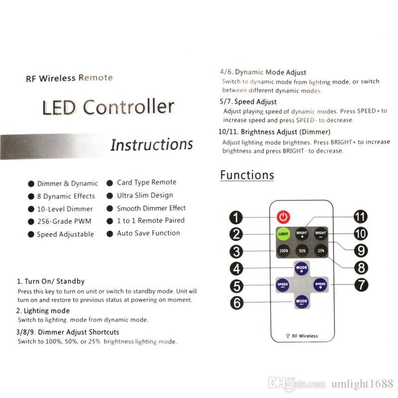 Umlight1688 Single Color LED Strip Dimmer RF Wireless Remote Controller For 3528 2835 5050 5630 5730 Led Tape