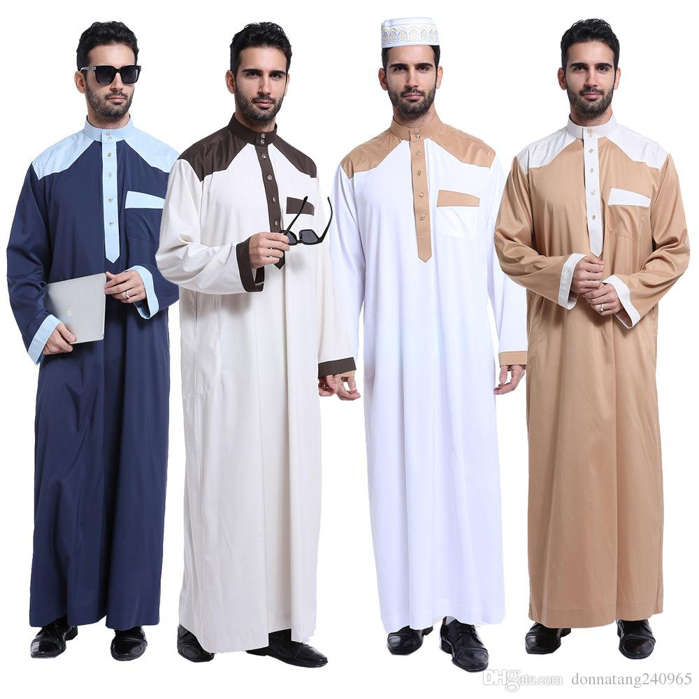 2018 2017 Men Abaya Turkish Muslim Wear Islamic Clothes