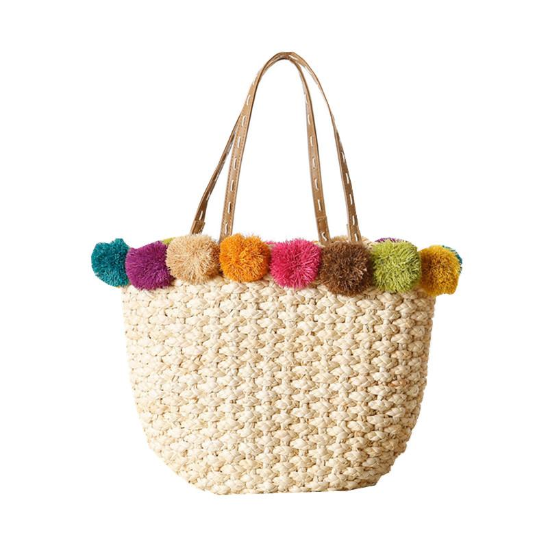 Beach Bags Handmade Pom Ball Handbags Straw Bag Summer Bohemia ... a1bac51390f35