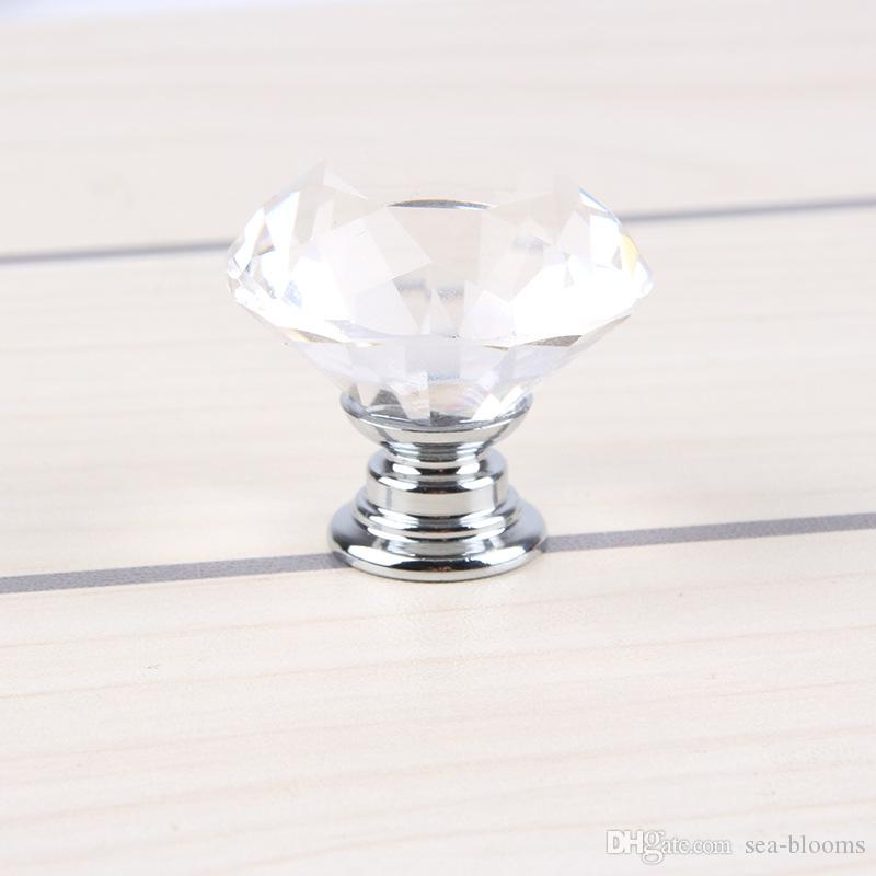 30mm Clear Crystal Glass Knob Shiny Polished Chrome Marrywindix Drawer Cabinet Pull Handle Knob For Home Kitchen Drawer 8E
