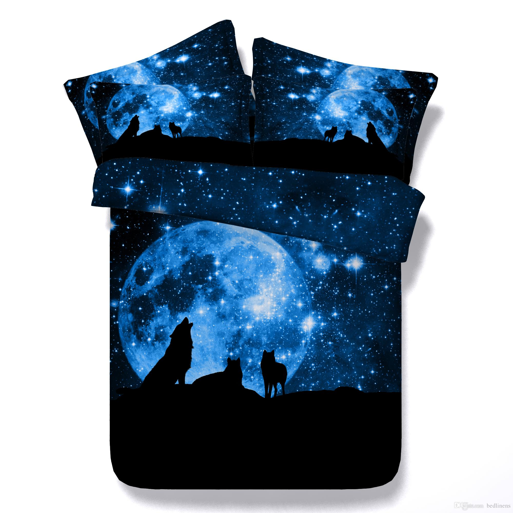 3 Styles Blue Galaxy Wolf 3d Printed Bedding Sets Twin