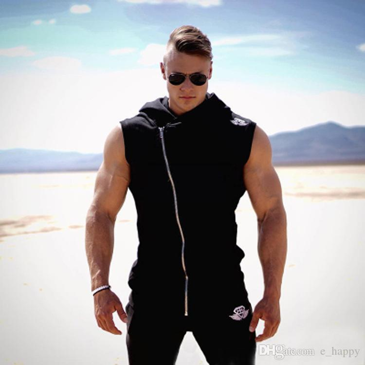 2018 New Style Men Body Hood Muscle Male Gym Fitness ...
