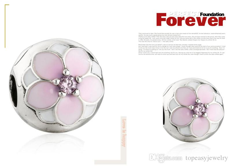 TopeasyJewelry 2017 Spring riginal 925 Sterling Silver Enamel Magnolia Bloom Flower Lock Clip Stopper Charms Beads