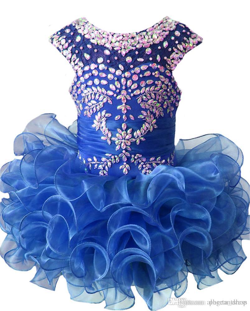 Luxurious New Little Girls Glitz Beaded Pageant Cupcake Dresses Infant Mini Short Skirts Toddler Tutu Girl Ruffles Dresses