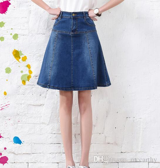 6d3bff1a72 Casual Denim Skirts for Women Jeans A-linen Empire Skirts Slimming Spring  Autumn Knee-length Pockets New Fashion Yhh0701 Skirts Online with  $39.78/Piece on ...