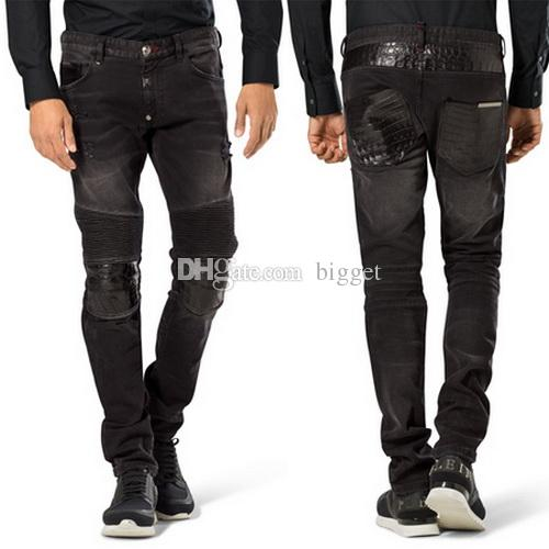 2017 Black Biker Fit Denim Jeans Men Fashion Brand Design Slim Fit ...