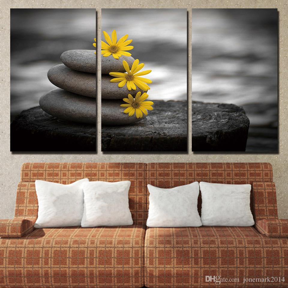 Stones Flowers Peaceful Wall Art Canvas Pictures For Living Room Bedroom Home Decor Printed Canvas Paintings