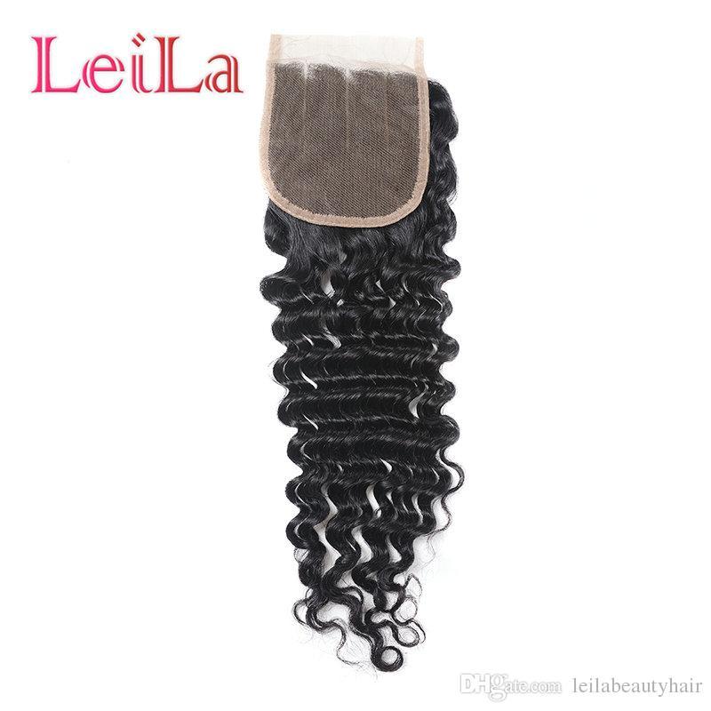 Virgin dei capelli onda profonda / lotto Bundles con chiusura del merletto peruviano 100% non trattati dei capelli umani di trama ricci capelli completa