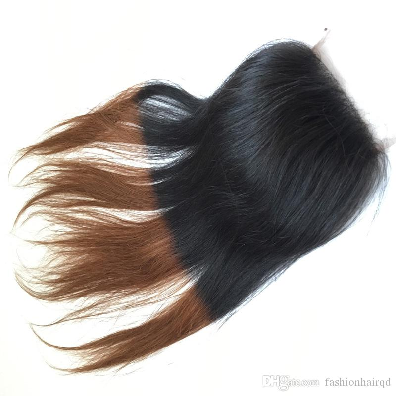 T1b 30 Two Tone Ombre Lace Closure Free Middle 3 Way Part Straight Raw Indian Brazilian Peruvian Malaysian Virgin Human Hair 8-20 inch