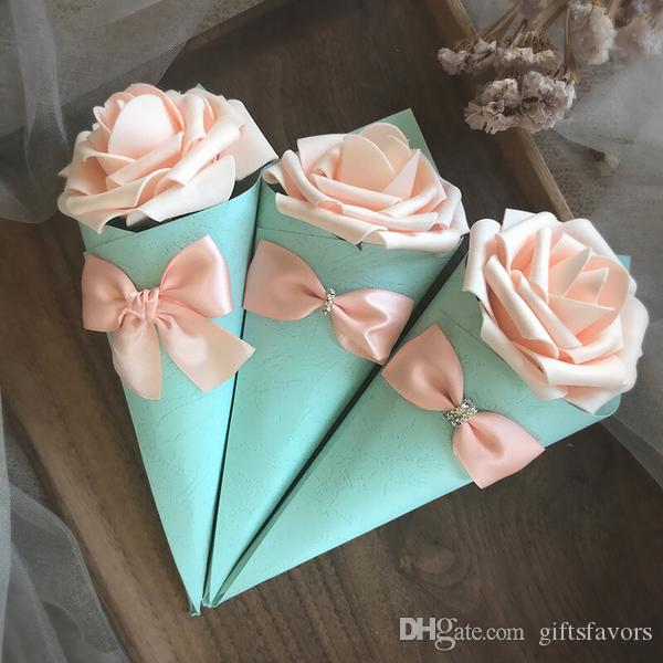 Paper Cone Shape favor holders wedding candy Boxes with Rose Flowers Bowknot Diamond