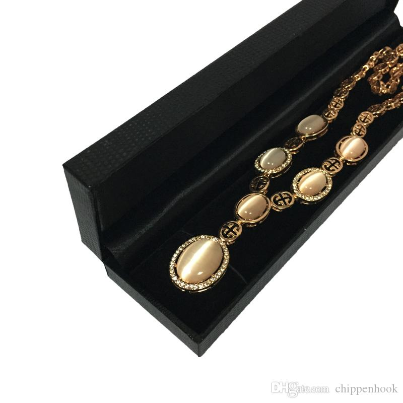 Black Jewelry Display Box High Quality Leatherette Bead Chain Bracelet Package Case Necklace Storage Gift Box 22.6*5*2.5cm