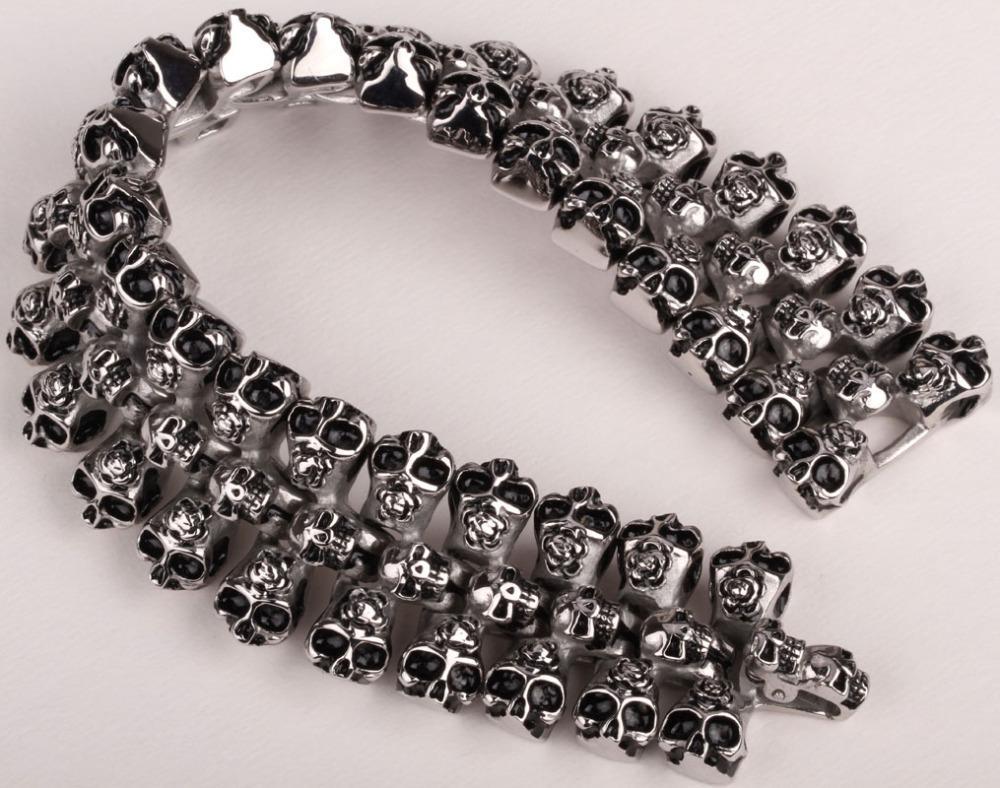 2018 Wholesale Men Stainless Steel Skull Bracelet 316l Cuff Chain ...
