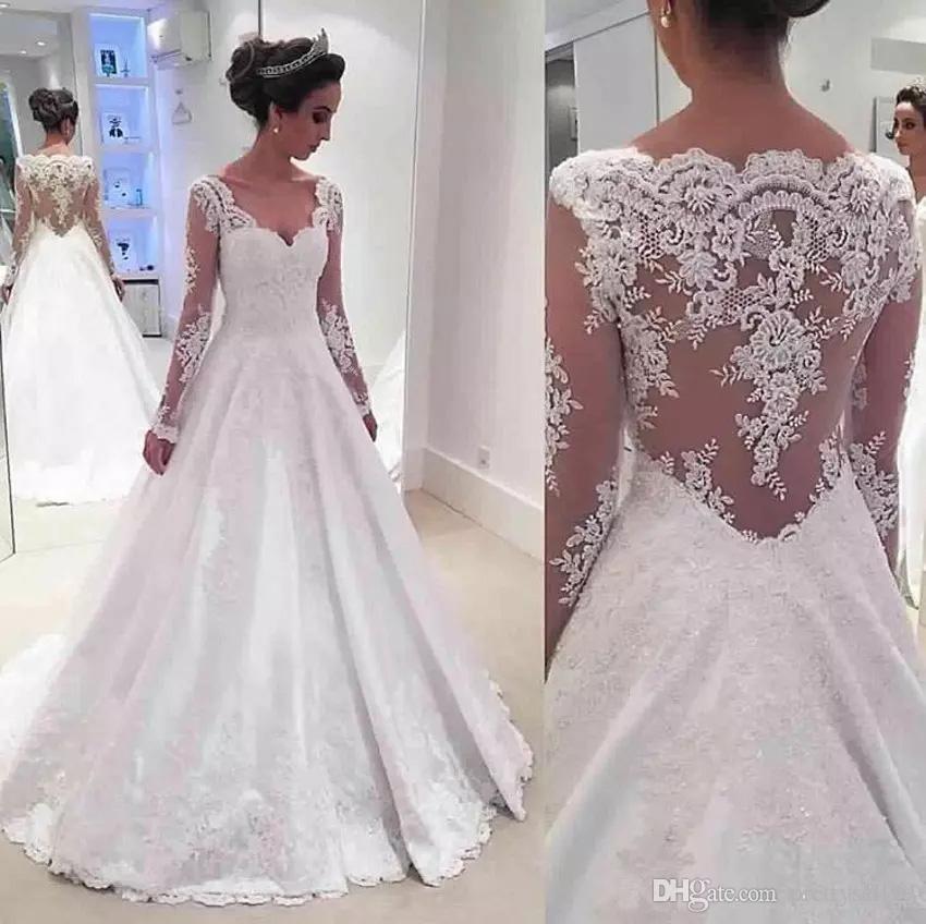 Personalizzati V-Neck maniche lunghe Pizzo Abiti da sposa 2020 con Appliques Hollow Indietro sweep treno Wedding Abiti da sposa